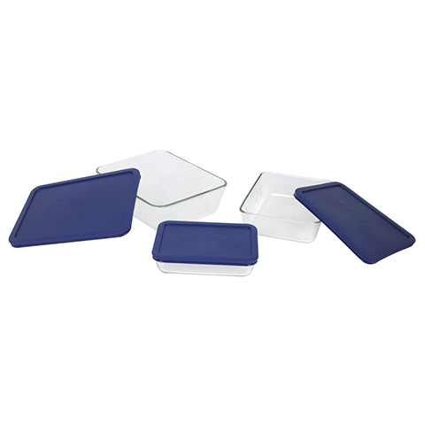Pyrex® Simply Store 6pc Rectangle Set w/ Blue Lids